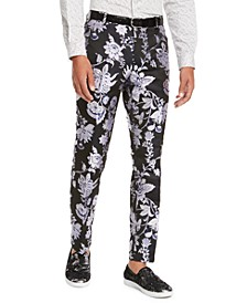 I.N.C. Men's Big & Tall Slim-Fit Metallic Floral Pants, Created For Macy's