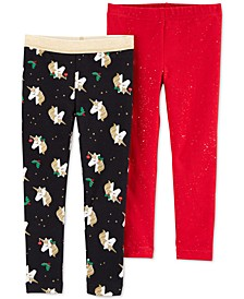 Toddler Girls 2-Pk. Unicorn-Print & Glitter Leggings