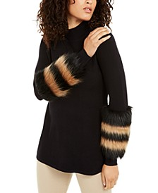 Striped Faux-Fur Cuff Sweater, Created for Macy's