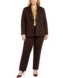 Plus Size Single-Button Blazer, Tie-Neck Top & Slim-Leg Pants