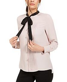 Tie-Neck Tuxedo Blouse