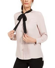 Anne Klein Tie-Neck Tuxedo Blouse