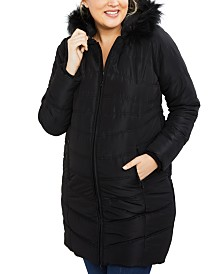 Motherhood Maternity Zip-Front Coat with Faux Fur Trim