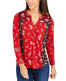 Petite Floral Print Button-Down Top, Created For Macy's