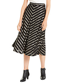 Alfani Pleated Metallic-Stripe Skirt, Created For Macy's