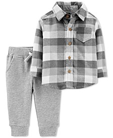 Baby Boys 2-Pc. Plaid Flannel Shirt & Jogger Pants Set