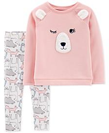 Baby Girls 2-Pc. Bear Sweatshirt & Animal-Print Leggings Set