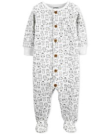 Baby Boys & Girls Animal-Print Footed Fleece Coverall