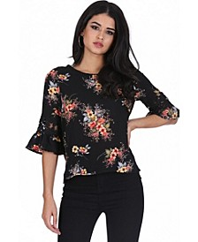 Women's Floral Crochet Detail Top