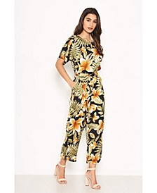 Women's Tropical Print Belted Jumpsuit