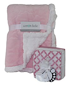 3 Stories Trading Etched Cloud Sherpa Blanket and Receiving Blankets Gift Set