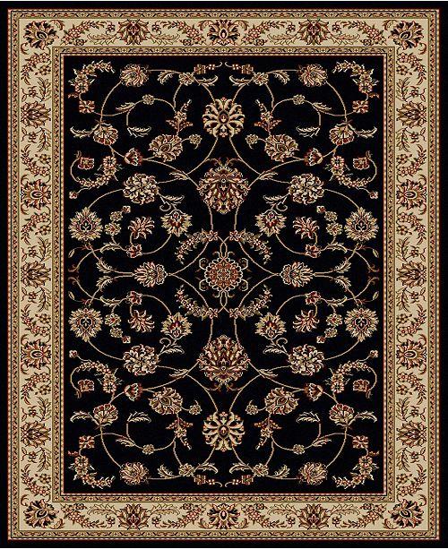 "KM Home CLOSEOUT! 1596/1312/BLACK Pesaro Black 7'9"" x 11' Area Rug"