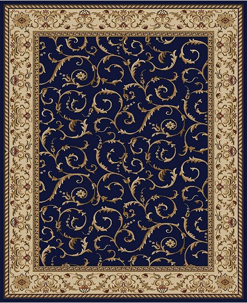 "KM Home CLOSEOUT! 1599/1552/NAVY Pesaro Blue 7'9"" x 11' Area Rug"