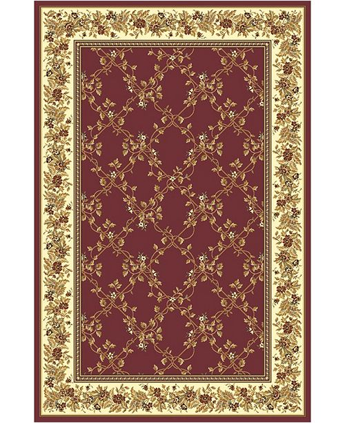 """KM Home CLOSEOUT! 1427/1733/BURGUNDY Navelli Red 7'9"""" x 11'6"""" Area Rug"""