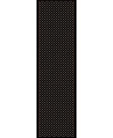 KM Home 782/1614/BLACK Pesaro Black 2'2 x 7'7 Runner Rug