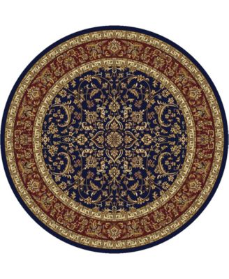 """CLOSEOUT! 1318/1546/NAVY Navelli Blue 5'3"""" x 5'3"""" Round Area Rug"""