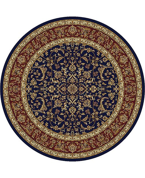 """KM Home CLOSEOUT! 1318/1546/NAVY Navelli Blue 5'3"""" x 5'3"""" Round Area Rug"""