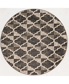 "CLOSEOUT! 3793/1014/BROWN Imperia Brown 5'3"" x 5'3"" Round Area Rug"