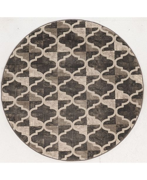 """KM Home CLOSEOUT! 3793/1014/BROWN Imperia Brown 5'3"""" x 5'3"""" Round Area Rug"""