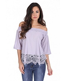 Women's Off The Shoulder Crochet Top