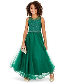 Big Girls Floral-Sequinned Wire-Hem Maxi Dress