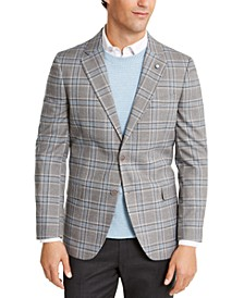 Men's Modern-Fit Active Stretch Medium Gray Plaid Sport Coat
