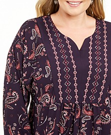 Plus Size Paisley Print Blouse, Created For Macy's