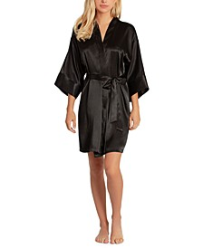 Women's Short Satin Wrap Robe