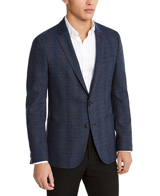 Hugo Hugo Boss Men's Slim Fit Stretch Blue Plaid Sport Coat by General