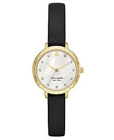 Women's Morningside Midi Black Leather Strap Watch 28mm