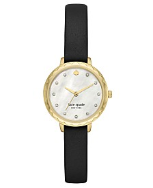 Kate Spade New York Women's Morningside Midi Black Leather Strap Watch 28mm
