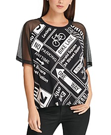 Graphic Mesh-Sleeve Top