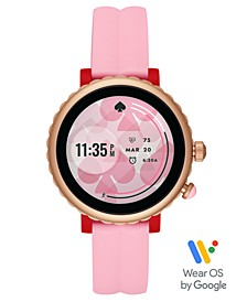Women's Sport Scalloped Pink Silicone Strap Touchscreen Smart Watch 41mm, Powered by Wear OS by Google™