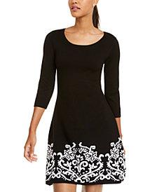 Sequin Hearts Juniors' Border Print A-Line Sweater Dress