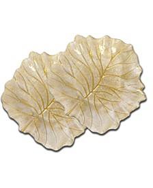 Set of 2 Beveled Leaf Shaped Plates