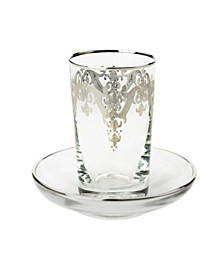 24k Silver Artwork Cups with Saucers - Set of 6