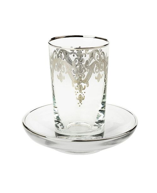 Classic Touch 24k Silver Artwork Cups with Saucers - Set of 6