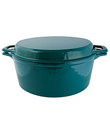 7 Qt Enameled Cast Iron Dutch Oven with Grill Lid