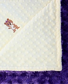 Minky Baby Girl Blanket With Embroidered Girl Bear