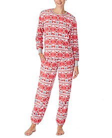 Printed Top & Bottoms Fleece Pajamas Set