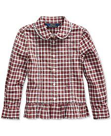 Little Girls Tartan Peplum-Hem Cotton Shirt