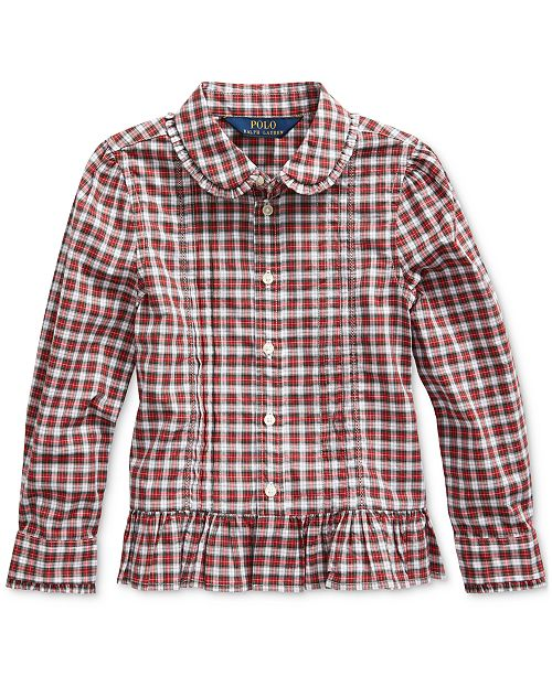 Polo Ralph Lauren Toddler Girls Tartan Peplum-Hem Cotton Shirt