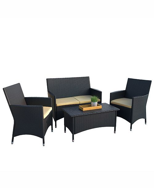 Corliving Distribution Cascade 4 Piece Patio Set with Coffee Table