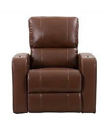 Distribution Tucson Home Theater Single Power Leather Gel Recliner with Stainless Steel Cup Holders