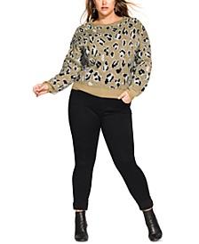 Trendy Plus Size Animal-Print Sweater