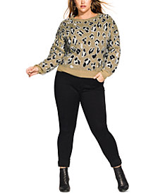 City Chic Trendy Plus Size Animal-Print Sweater