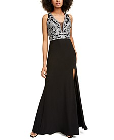 Juniors' Embroidered Halter Gown