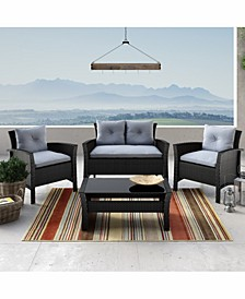 Distribution Cascade 4 Piece Resin Rattan Wicker Patio Set with Cushions