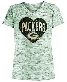 5th & Ocean Big Girls Green Bay Packers Heart Flip Sequin T-Shirt