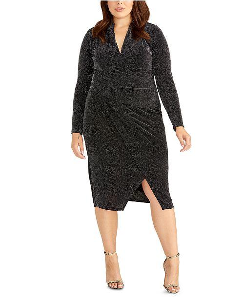 RACHEL Rachel Roy Plus Size Sparkle Faux Wrap Dress